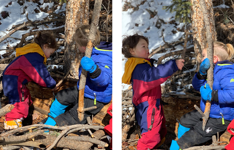 kids playing in the forest at Colorado Springs forest school nature kindergarten