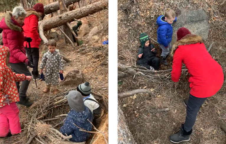 Building bird nests at Colorado Springs nature kindergarten forest school nature preschool in Palmer Lake
